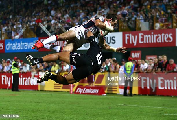 Zack Test of the USA is tackled by in the air by Augustine Pulu of New Zealand resulting in a yellow card in the third place playoff game during the...