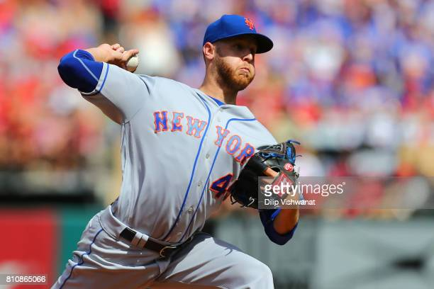 Zack Wheeler of the New York Mets delivers a pitch against the St Louis Cardinals in the second inning at Busch Stadium on July 8 2017 in St Louis...