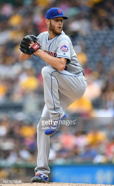 Zack Wheeler of the New York Mets delivers a pitch during the game against the Pittsburgh Pirates at PNC Park on July 29 2018 in Pittsburgh...