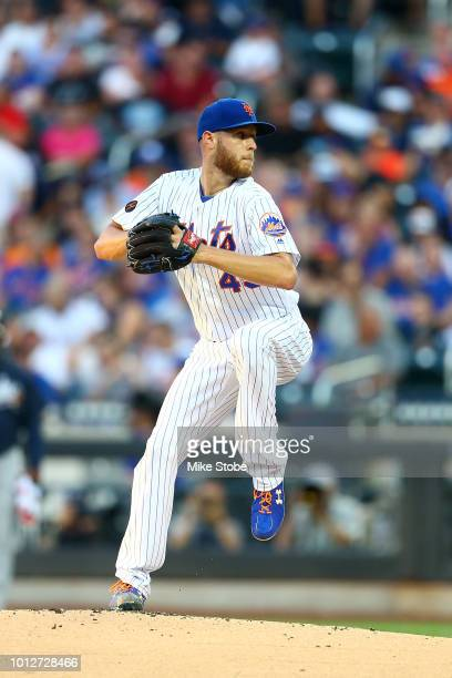 Zack Wheeler of the New York Mets in action against the Atlanta Braves at Citi Field on August 4 2018 in the Flushing neighborhood of the Queens...