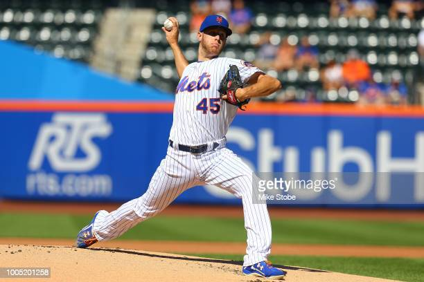 Zack Wheeler of the New York Mets in action against the Philadelphia Phillies during Game One of a doubleheader at Citi Field on July 9 2018 in the...