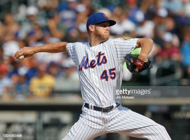 Zack Wheeler of the New York Mets in action against the Washington Nationals at Citi Field on July 14 2018 in the Flushing neighborhood of the Queens...