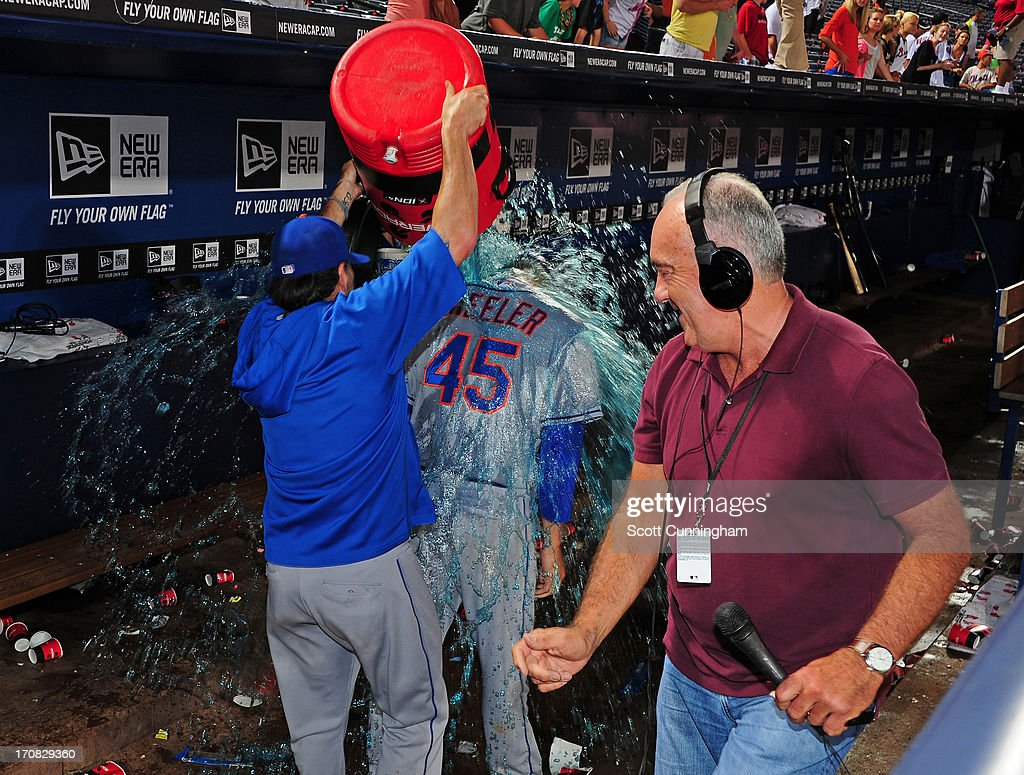 Zack Wheeler #45 of the New York Mets is doused with Gatorade after game two of a doubleheader against the Atlanta Braves at Turner Field on June 18, 2013 in Atlanta, Georgia.