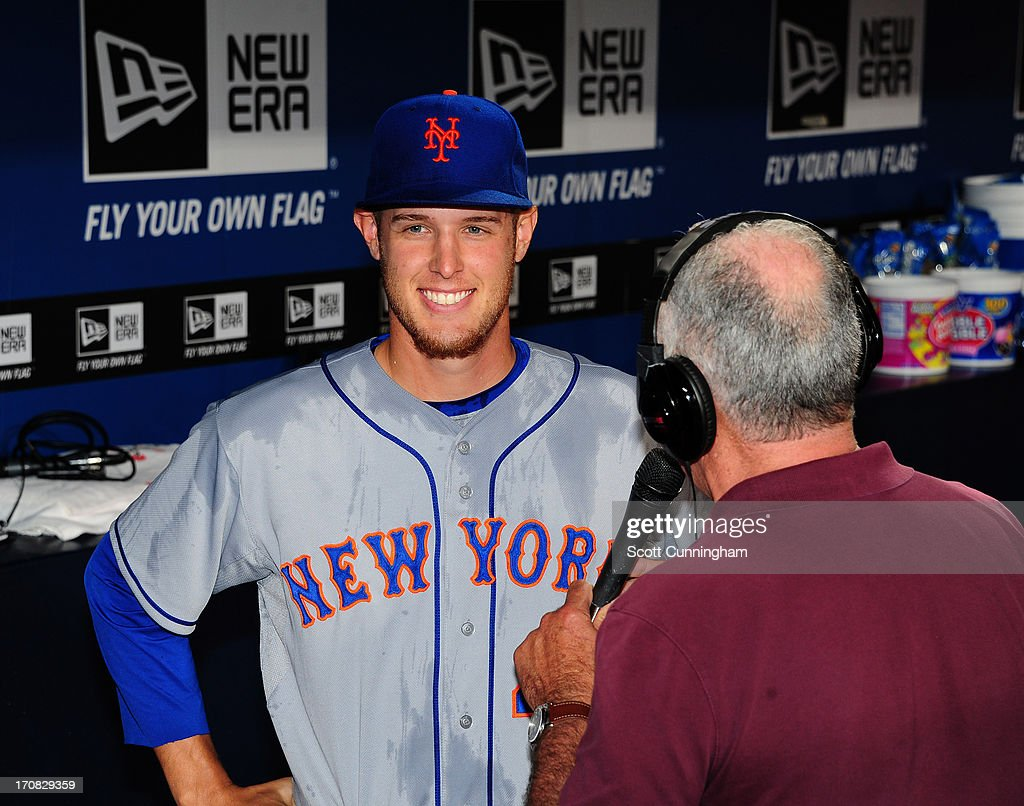 Zack Wheeler #45 of the New York Mets is interviewed after game two of a doubleheader against the Atlanta Braves at Turner Field on June 18, 2013 in Atlanta, Georgia.