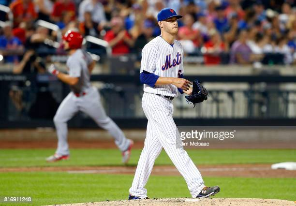 Zack Wheeler of the New York Mets looks on after surrendering a sixth inning two run home run against of the St Louis Cardinals on July 17 2017 at...