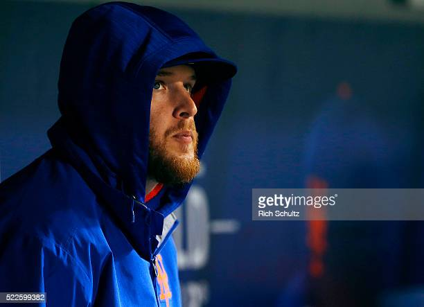 Zack Wheeler of the New York Mets looks on from the dugout during a game against the Philadelphia Phillies at Citi Field on April 9 2016 in the...