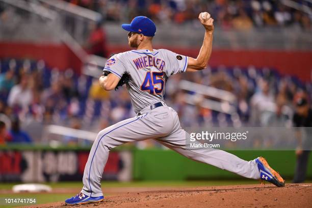 Zack Wheeler of the New York Mets makes a pitch in the first inning against the Miami Marlins at Marlins Park on August 10 2018 in Miami Florida