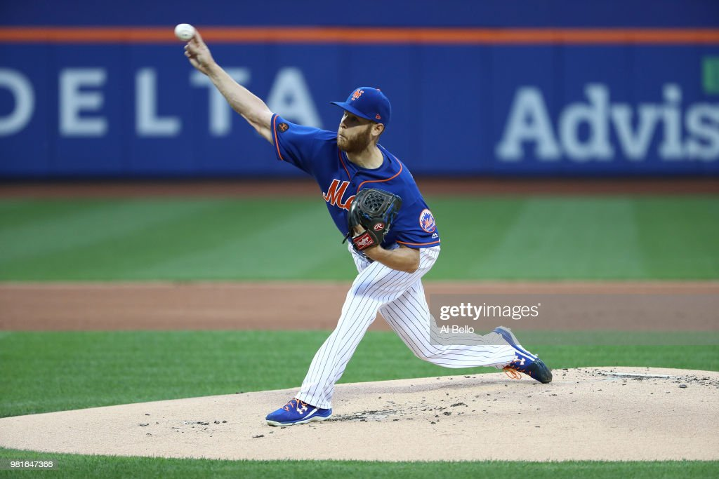 Zack Wheeler (45) of the New York Mets pitches against the Los Angeles Dodgers during their game at Citi Field on June 22, 2018 in New York City.