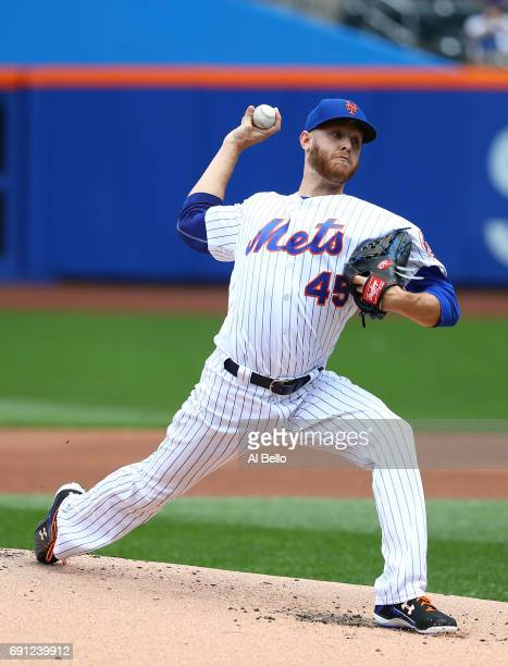 Zack Wheeler of the New York Mets pitches against the Milwaukee Brewers during their game at Citi Field on June 1 2017 in New York City