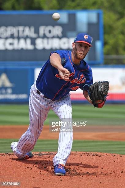 Zack Wheeler of the New York Mets pitches against the New York Yankees during a spring training game at First Date Field on March 7 2018 in Port St...