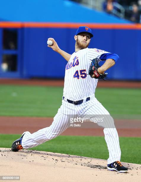 Zack Wheeler of the New York Mets pitches against the Philadelphia Phillies during their game at Citi Field on April 18 2017 in New York City