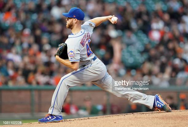 Zack Wheeler of the New York Mets pitches against the San Francisco Giants in the bottom of the first inning at ATT Park on August 31 2018 in San...