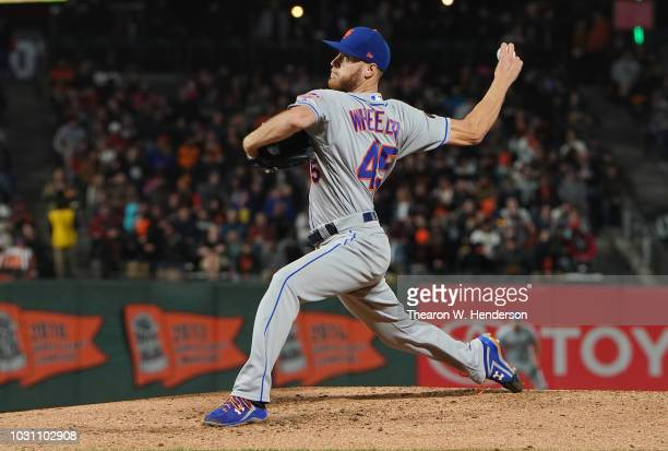 Zack Wheeler of the New York Mets pitches against the San Francisco Giants in the bottom of the fifth inning at ATT Park on August 31 2018 in San...