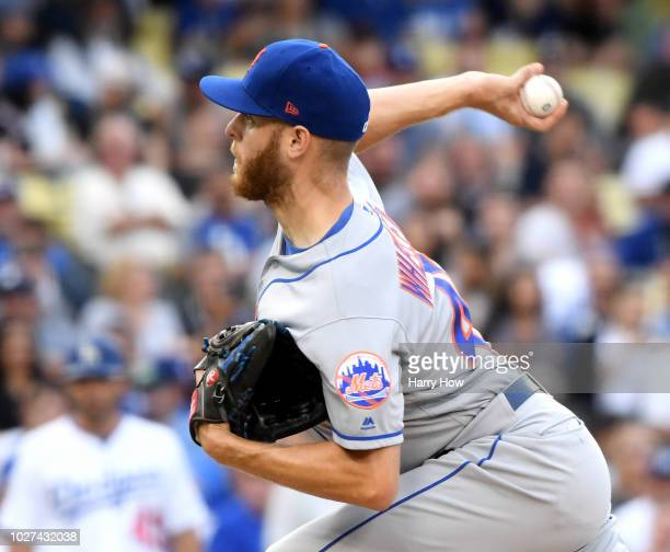 Zack Wheeler of the New York Mets pitches during the sixth inning against the Los Angeles Dodgers at Dodger Stadium on September 5 2018 in Los...