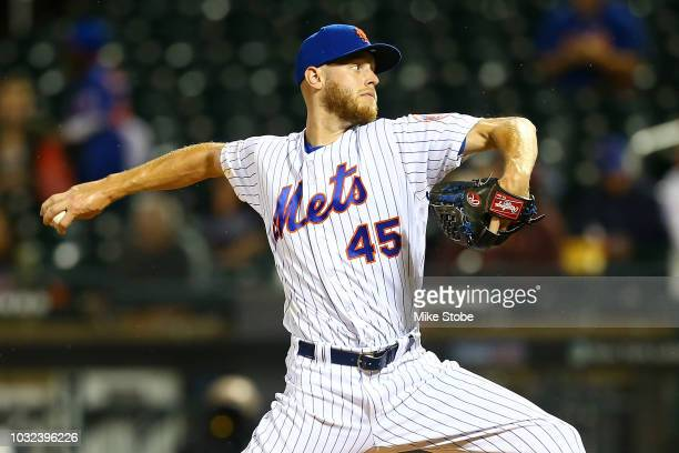 Zack Wheeler of the New York Mets pitches in the first inning against the Miami Marlins at Citi Field on September 12 2018 in the Flushing...