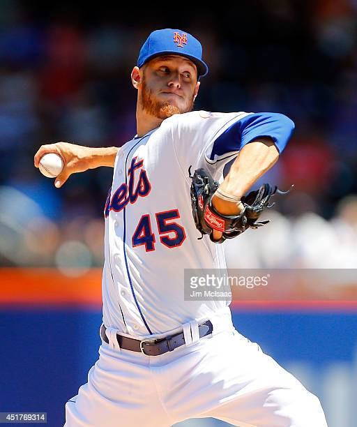 Zack Wheeler of the New York Mets pitches in the first inning against the Texas Rangers at Citi Field on July 6 2014 in the Flushing neighborhood of...