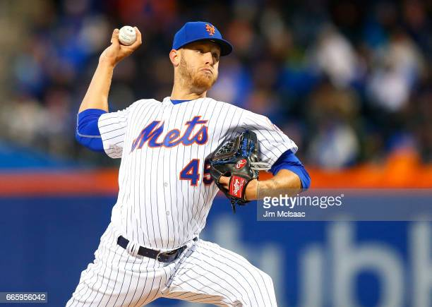 Zack Wheeler of the New York Mets pitches in the first inning against the Miami Marlins at Citi Field on April 7 2017 in the Flushing neighborhood of...