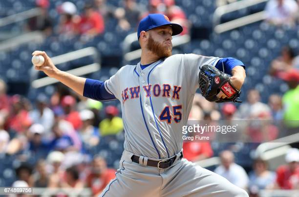 Zack Wheeler of the New York Mets pitches in the first inning against the Washington Nationals at Nationals Park on April 29 2017 in Washington DC