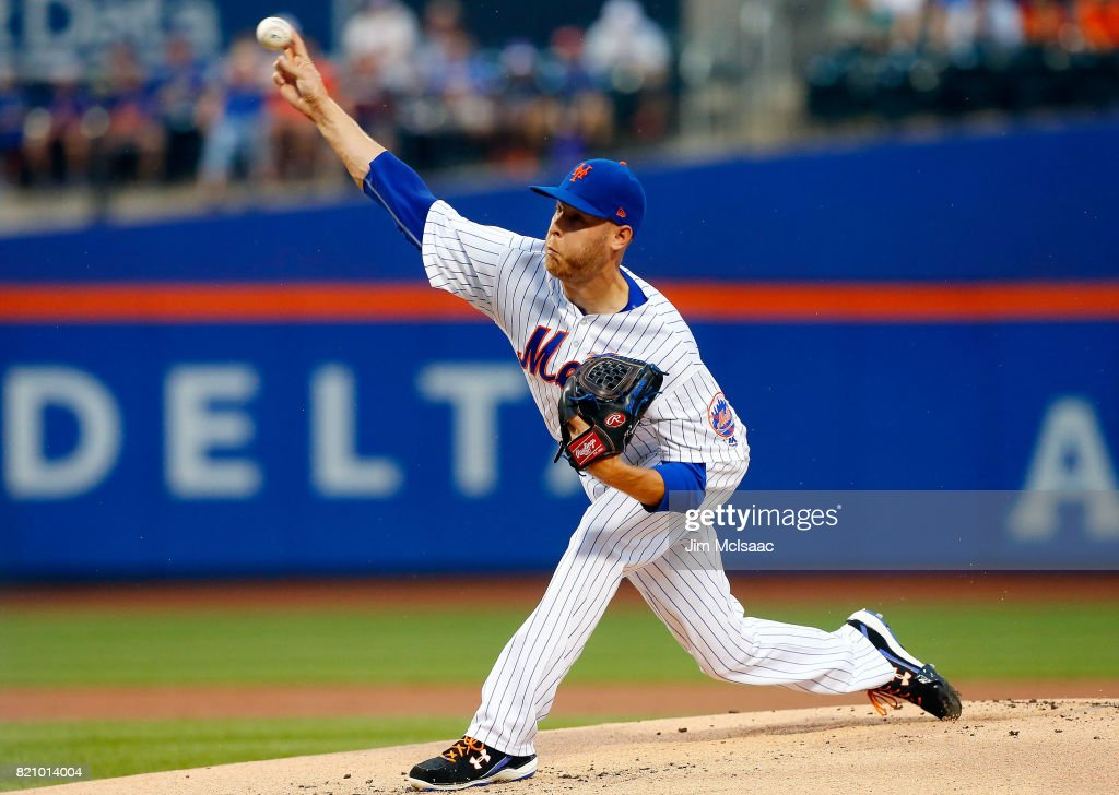 Zack Wheeler #45 of the New York Mets pitches in the first inning against the Oakland Athletics at Citi Field on July 22, 2017 in the Flushing neighborhood of the Queens borough of New York City.
