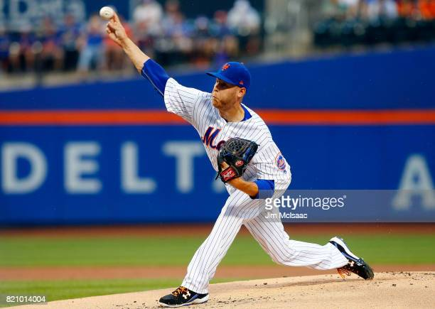 Zack Wheeler of the New York Mets pitches in the first inning against the Oakland Athletics at Citi Field on July 22 2017 in the Flushing...