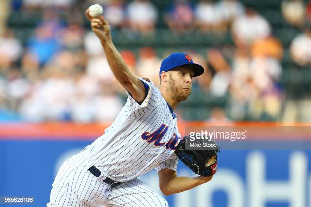 Zack Wheeler of the New York Mets pitches in the first inning against the Chicago Cubs at Citi Field on June 1 2018 in the Flushing neighborhood of...