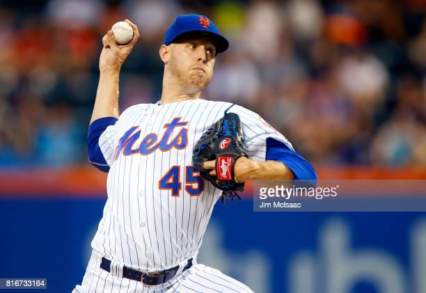Zack Wheeler of the New York Mets pitches in the second inning against the St Louis Cardinals on July 17 2017 at Citi Field in the Flushing...