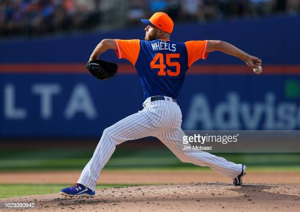Zack Wheeler of the New York Mets pitches in the third inning against the Washington Nationals at Citi Field on August 25 2018 in the Flushing...