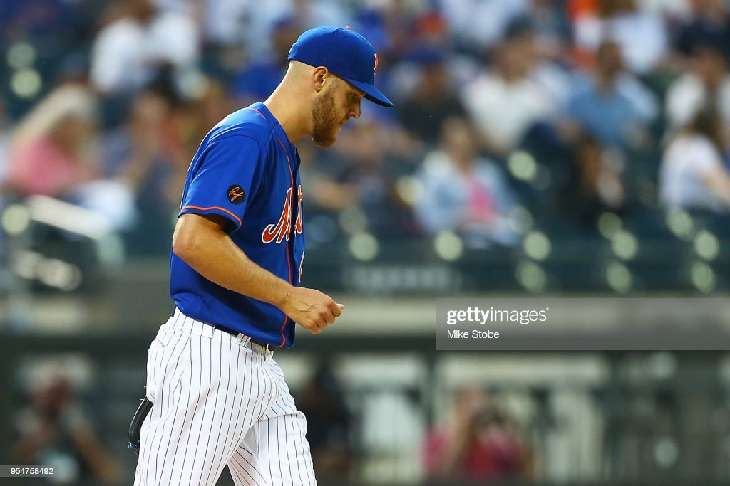 Zack Wheeler #45 of the New York Mets reacts after giving up a solo home run to Charlie Blackmon #19 of the Colorado Rockies in the second inning at Citi Field on May 4, 2018 in the Flushing neighborhood of the Queens borough of New York City.