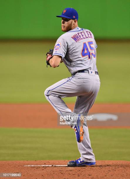 Zack Wheeler of the New York Mets throws a pitch during the game against the Miami Marlins at Marlins Park on August 10 2018 in Miami Florida