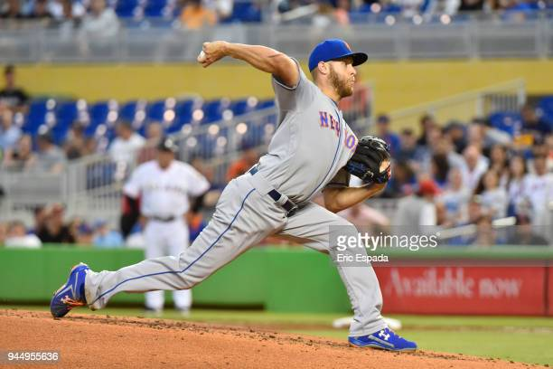 Zack Wheeler of the New York Mets throws a pitch during the third inning against the Miami Marlins at Marlins Park on April 11 2018 in Miami Florida