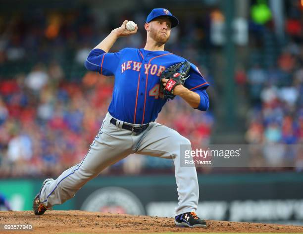 Zack Wheeler of the New York Mets throws in the first inning against the Texas Rangers at Globe Life Park in Arlington on June 7 2017 in Arlington...