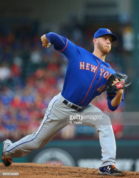 Zack Wheeler of the New York Mets throws in the second inning against the Texas Rangers at Globe Life Park in Arlington on June 7 2017 in Arlington...