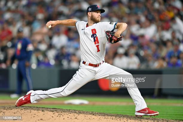 Zack Wheeler of the Philadelphia Phillies pitches during the 91st MLB All-Star Game at Coors Field on July 13, 2021 in Denver, Colorado.