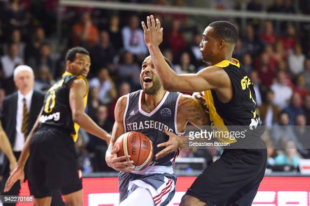 Zack Wright of Strasbourg and Mike Green of AEK Athens during the Champions League match between Strasbourg and AEK Athens on April 4 and 2018 in...