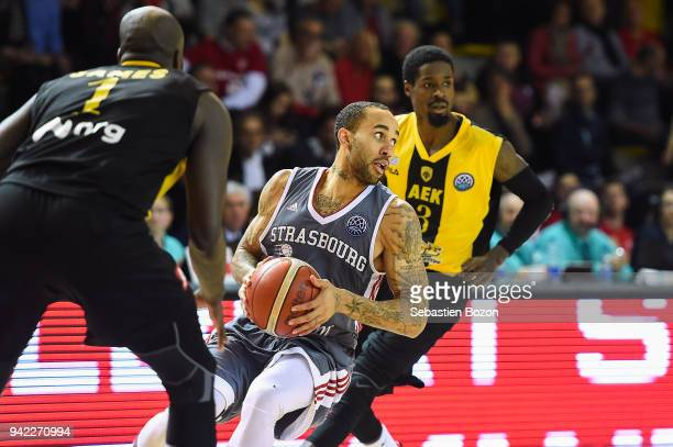 Zack Wright of Strasbourg during the Champions League match between Strasbourg and AEK Athens on April 4 and 2018 in Strasbourg and France