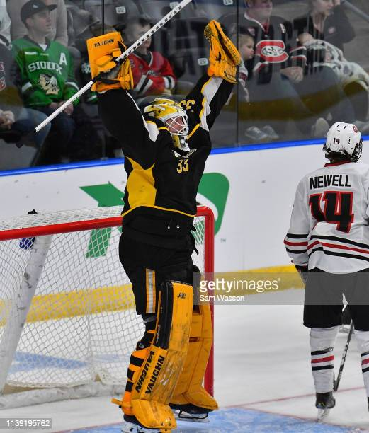 Zackarias Skog of the American International Yellow Jackets celebrates after the Yellow Jackets defeated the St Cloud State Huskies 21 in an NCAA...