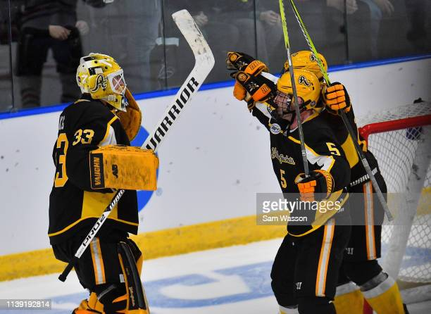 Zackarias Skog Ryan Polin and Hugo Reinhardt of the American International Yellow Jackets celebrate after defeating the St Cloud State Huskies 21 in...