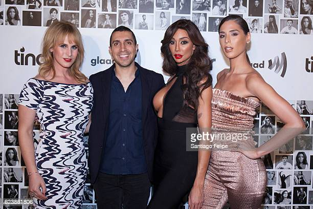 Zackary Drucker Sean Rad Yasmine Petty and Carmen Carrera attend Tinder x GLAAD Celebrate Inclusion Acceptance Equality at Skylight Clarkson Sq on...