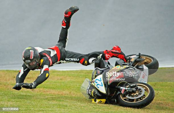 Zackary Johnson of Victoria crashes his Yamaha R6 as he competes in the Australian Supersport Championship round 1 qualifying session ahead of the...