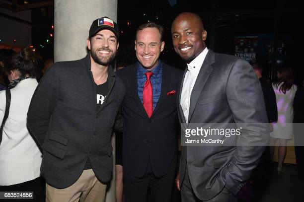 Zackary Levi Matt Iseman and Akbar Gbajabiamila attend the Entertainment Weekly and PEOPLE Upfronts party presented by Netflix and Terra Chips at...