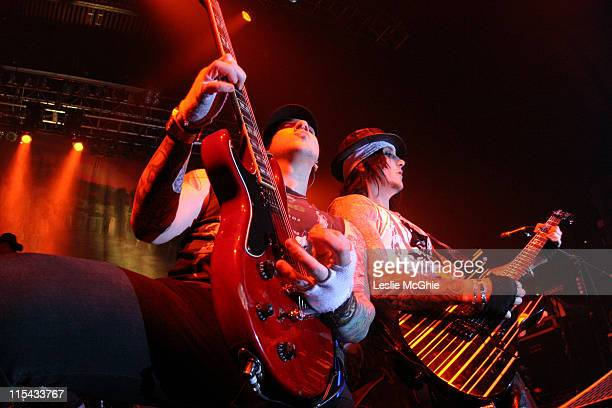 Zacky Vengeance and Synyster Gates during Avenged Sevenfold in Concert at the Astoria March 10 2006 at Astoria in London Great Britain