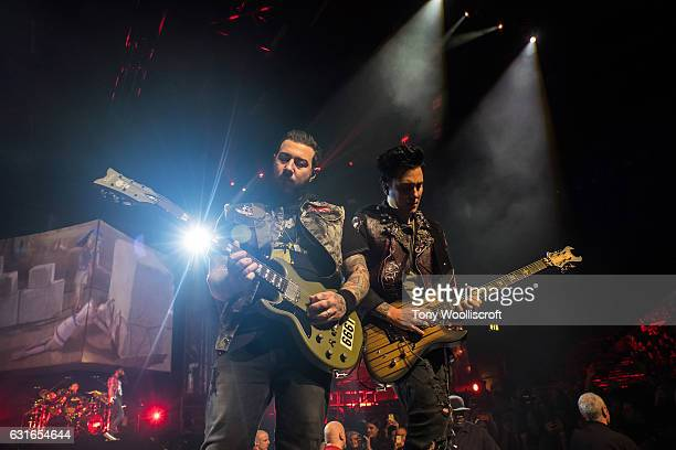 Zacky Vengeance and Synyster Gates of Avenged Sevenfold perform at Genting Arena on January 13 2017 in Birmingham England