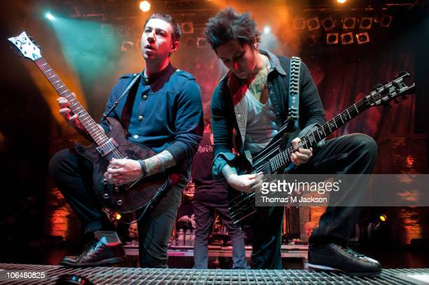 Zacky Vengeance and Synyster Gates of Avenged Sevenfold perform on stage at O2 Academy on November 2 2010 in Newcastle upon Tyne England