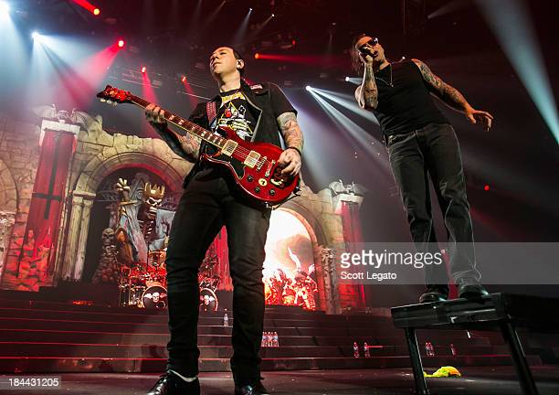 Zacky Vengeance and Synyster Gates of Avenged Sevenfold performs during the Hail to the King Tour at Joe Louis Arena on October 13 2013 in Detroit...