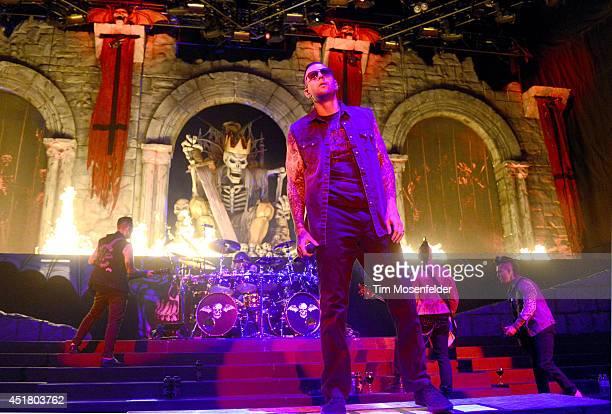 Zacky Vengeance Arin Ilejay M Shadows Johnny Christ and Synyster Gates of Avenged Sevenfold perform during the Rockstar Energy Mayhem Festival at...