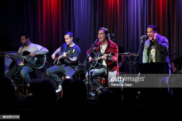 Zacky Vengeance Johnny Christ Synyster Gates and M Shadows of Avenged Sevenfold perform at An Evening With Avenged Sevenfold at The GRAMMY Museum on...
