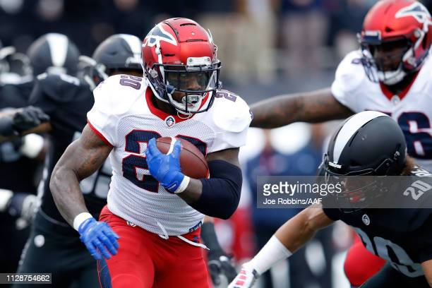 ZacStacy of Memphis Express runs for yards during an Alliance of American Football game against the Birmingham Iron at Legion Field on February 10...