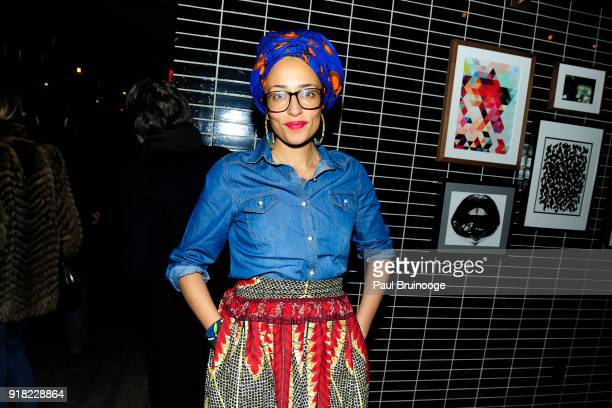 Zadie Smith attends The Cinema Society with Ravage Wines Synchrony host the after party for Marvel Studios' 'Black Panther' at The Skylark on...