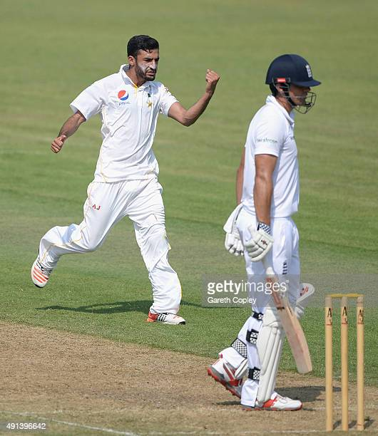 Zafar Gohar of Pakistan A celebrates dismissing England captain Alastair Cook during day one of the tour match between Pakistan A and England at...