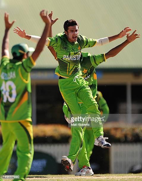 Zafar Gohar of Pakistan celebrates during the ICC U19 Cricket OneDay International match between Australia and Pakistan at Kerrydale Oval on July 31...